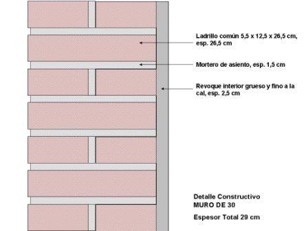 muro de 30 ladrillo visto ext con revoque int